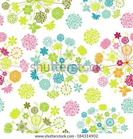 Seamless spring wallpaper - stock vector