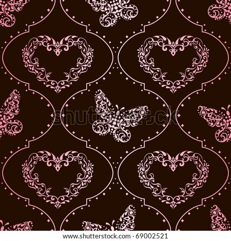 Seamless springtime background in pink and brown (EPS10); jpg version also available - stock vector