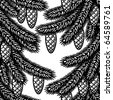 Seamless spruce background black and white. Vector - stock vector