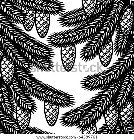 Seamless spruce background black and white. Vector