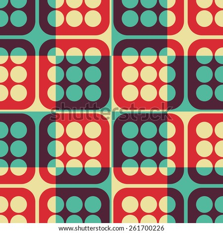 Seamless Square and Circle Pattern. Vector Colorful Background