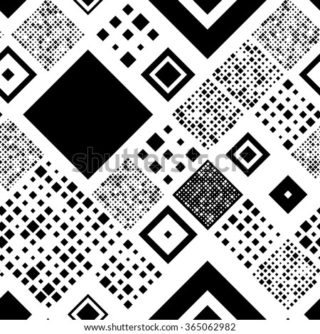 Seamless Square Pattern. Abstract Black and White Background. Vector Regular Brick Texture - stock vector