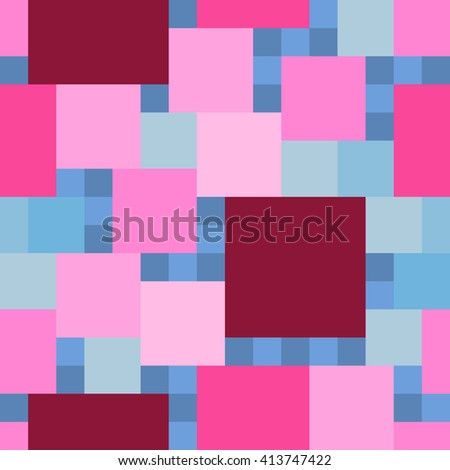Seamless square pattern. Geometric background of dark and light squares of blue, pink and burgundy color. This square pattern can be used for fabric, wallpaper, background, wrapping paper. - stock vector