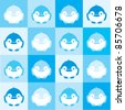 Seamless square pattern of blue penguins, vector illustration - stock vector