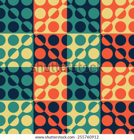 Seamless Square, Triangle and Circle Pattern. Vector Regular Texture