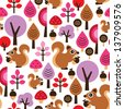 Seamless squirrel autumn kids illustrations background pattern in vector - stock vector