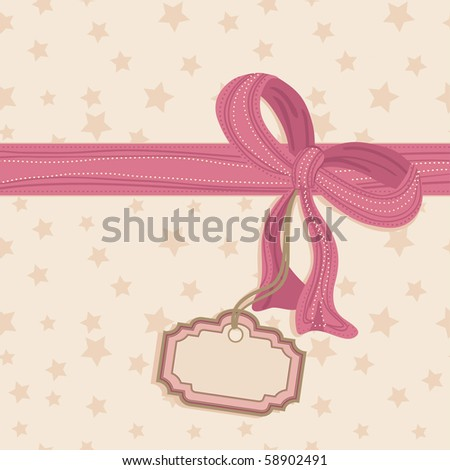 seamless star background with pink bow and blank tag - stock vector