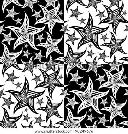 Seamless starfish black & white background vector - stock vector