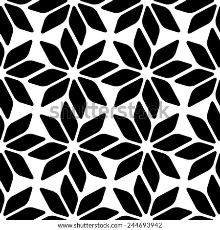 Seamless Stars Pattern. Black and White Background - stock vector
