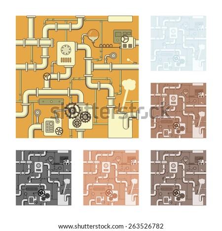 Seamless steampunk pattern, vector Illustration. - stock vector