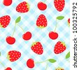 Seamless strawberry and cherry pattern. - stock photo