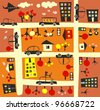 seamless street in autumn - stock vector