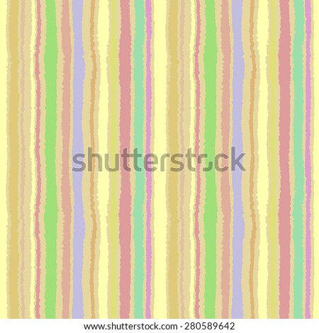 Seamless strip pattern. Vertical lines with torn paper effect. Shred edge background. Summer, warm, yellow, green, olive, terracotta colors. Vector illustration - stock vector