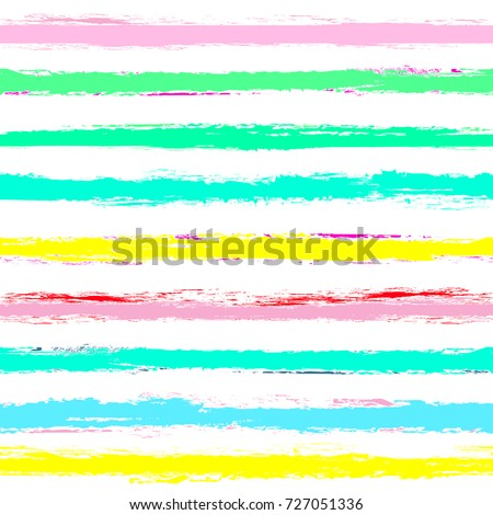 Seamless striped pattern. Horizontal line with torn paper effect. Ethnic background of colorful pastel soft colors. EPS vector illustration. Texture for backdrop. Paint brush stroke stripes for kids.