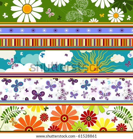 Seamless striped vivid summer pattern with application (vector) - stock vector