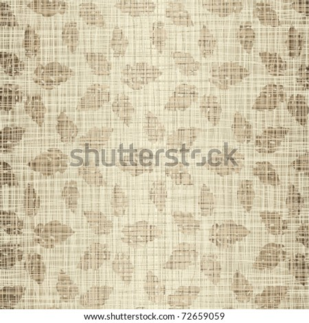 Seamless structure leaves against a linen cloth - stock vector