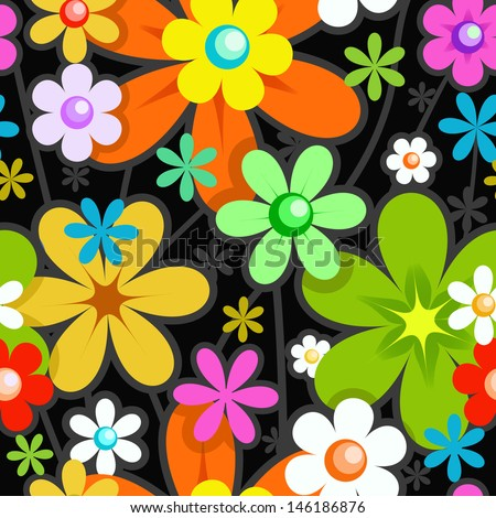 Seamless Stylish Floral Pattern. Mix of Colorful Flowers on Black. Background for Textile Design - stock vector