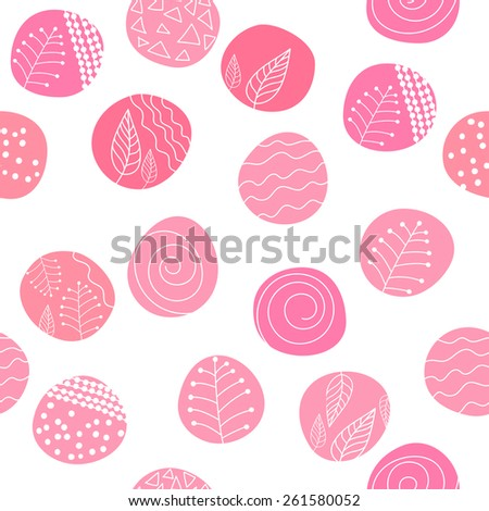 Seamless stylish hand drawn pattern. Patterned circles on white background. Vector illustration.