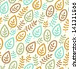 Seamless stylish pattern with color leaves. Vector illustration - stock vector