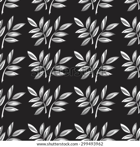 Seamless stylized abstract pattern (background) with leaves silhouette.  Texture with  leaves. - stock vector