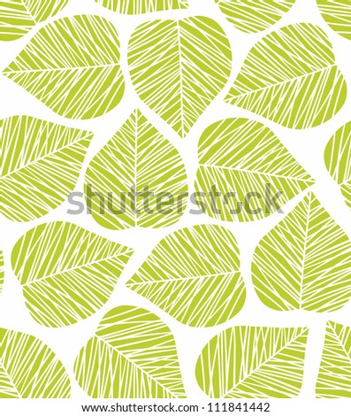 Seamless stylized green leaf pattern. Vector illustration