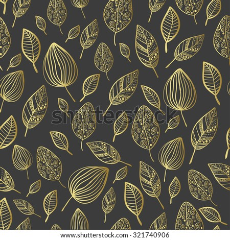 seamless stylized leaf pattern. Seamless decorative template texture with leaves. Black and gold - stock vector