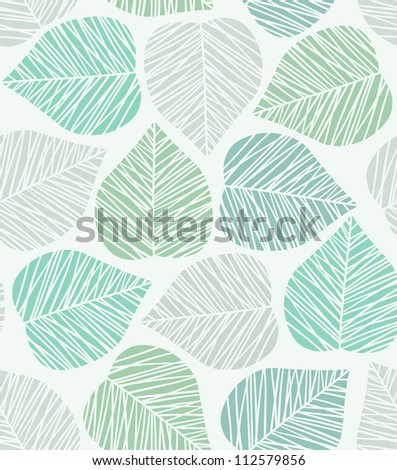 Seamless stylized leaf pattern. Vector illustration - stock vector