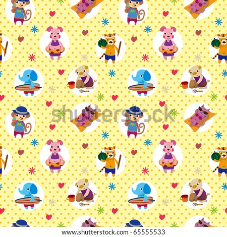 seamless summer animal pattern - stock vector
