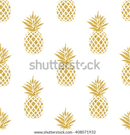 Seamless Summer Gold Pineapple On Colored Background Pattern In Vector Fruit Illustration