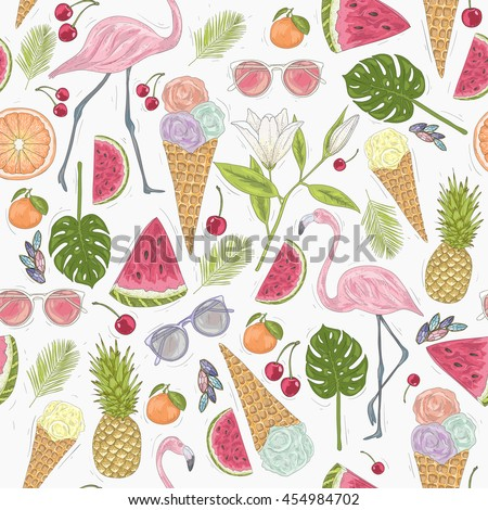 seamless summer pattern elements