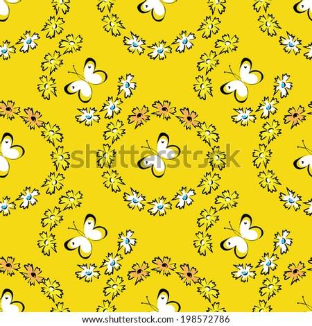 seamless summer pattern with butterflies - stock vector