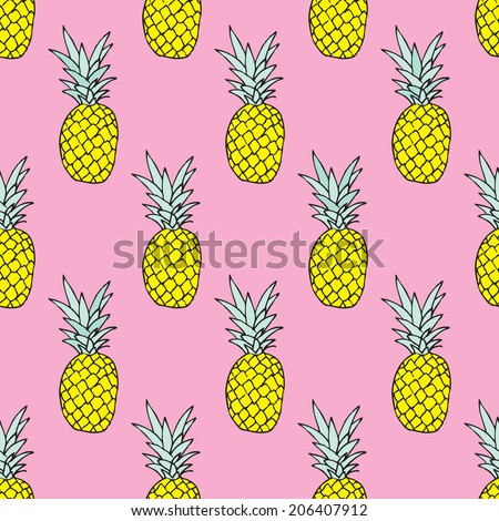Seamless summer pineapple fruit illustration background pattern in vector - stock vector