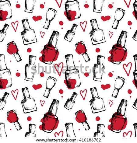 Seamless surface pattern with hand-drawn ink sketch nail polish bottles, bright red accents and cute elements on white background. Vector design for textile, accessories, banners, advertising. - stock vector