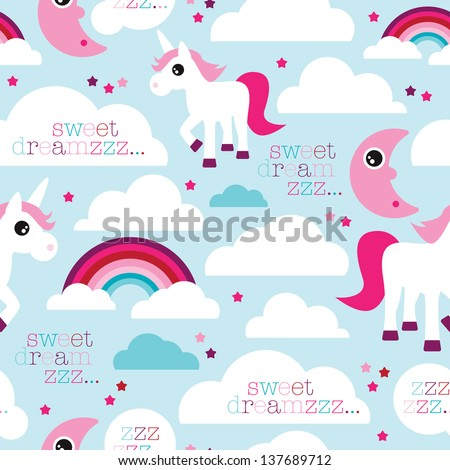 Seamless sweet dreams unicorn and rainbow dream baby girl night illustration background pattern in vector - stock vector