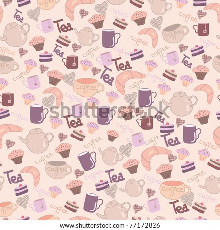 seamless sweet pattern with tea & coffee & cake - stock vector