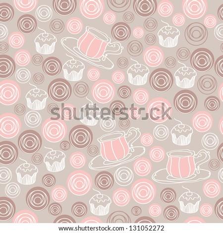 Seamless sweet tea pattern - stock vector