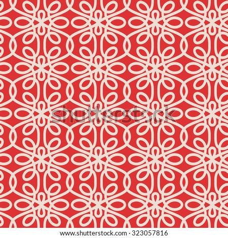 Seamless swirly pattern in beige and red colors. Vector pattern. - stock vector