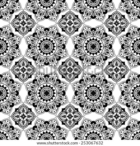 seamless symmetrical black lace on a white background - stock vector