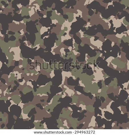 Seamless tan woodland classic camouflage textile pattern vector - stock vector