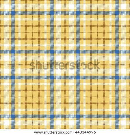 Seamless tartan plaid pattern in white, blue & brown twill stripes on golden sand yellow undercheck background. - stock vector