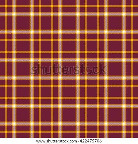 Seamless tartan plaid pattern. Orange and white stripes on claret purplish red background. - stock vector