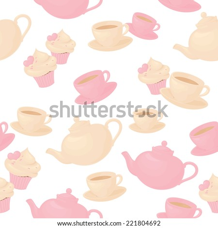 Seamless tea and cake background. - stock vector