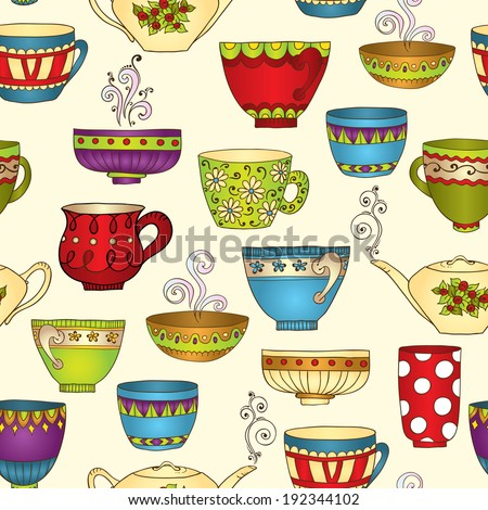 Seamless tea pattern with doodle teapots and cups. Perfect for wallpaper, pattern fills, textile, web page background, surface textures. Vector illustration.