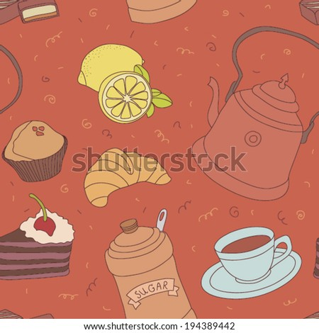 Seamless teatime vector pattern with sweets, cup of tea with lemon, sugar and cake.