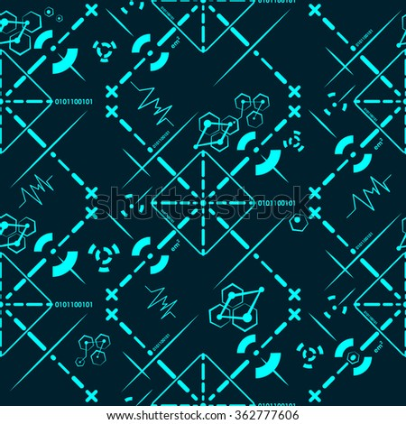 Seamless technology pattern texture lines concept connection background vector