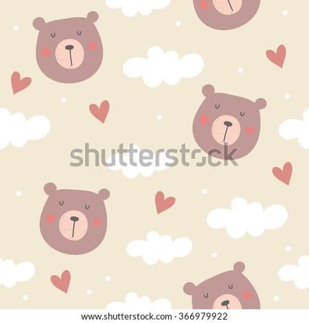 seamless teddy bear pattern vector pattern - stock vector