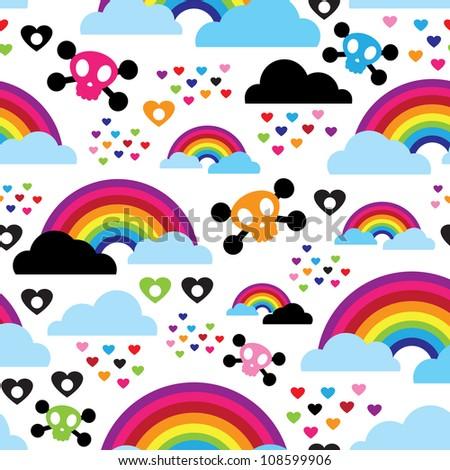 Seamless teenage emo rainbow skull background pattern in vector - stock vector