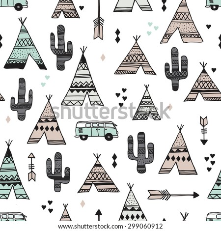 Seamless teepee tent arrow and cactus botanical indian summer camping trip van illustration background western pattern in vector - stock vector