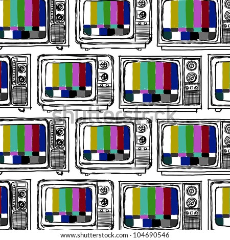 Seamless television  sketch style ; Vector illustration