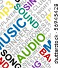 Seamless text pattern made from words which relate with music - stock vector